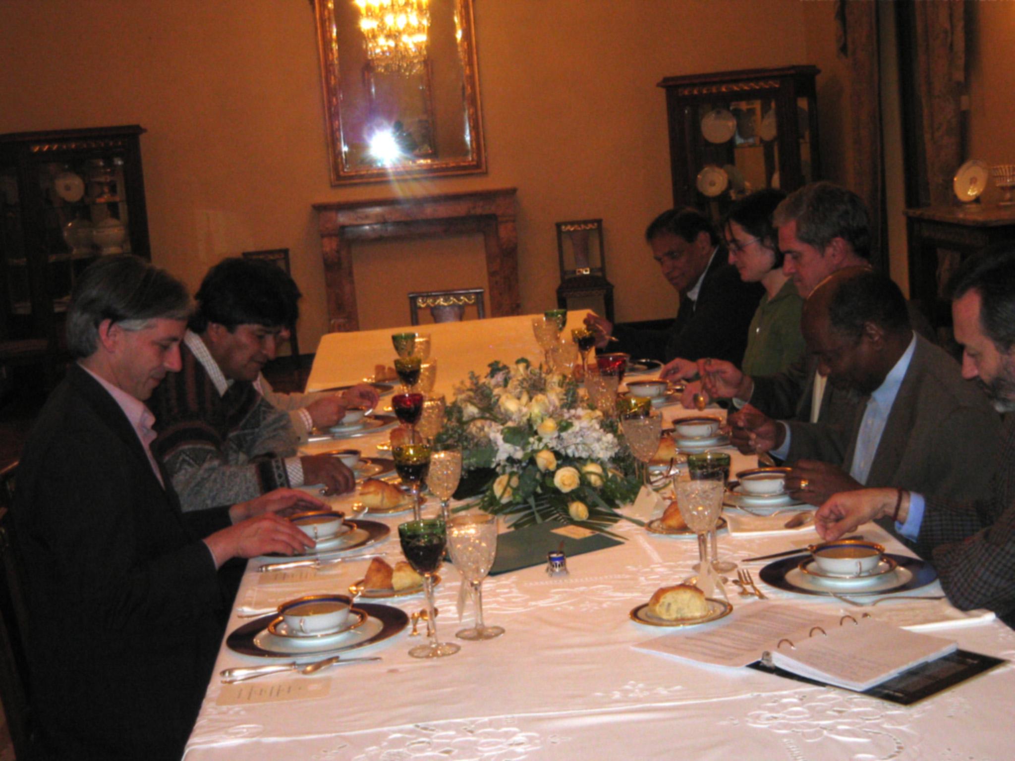 Alvaro García Linera, Evo Morales, Ebrahim Ismail Ebrahim, Orla de Díez, Roelf Meyer, Joaquim Chissano, Fabian Yaksic