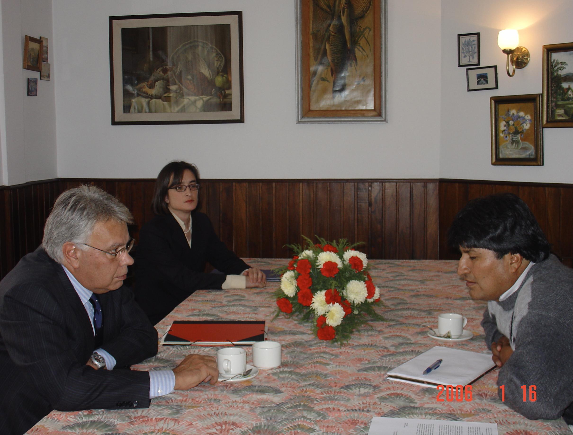 Felip González _ Evo Morales _ Orla de Diez